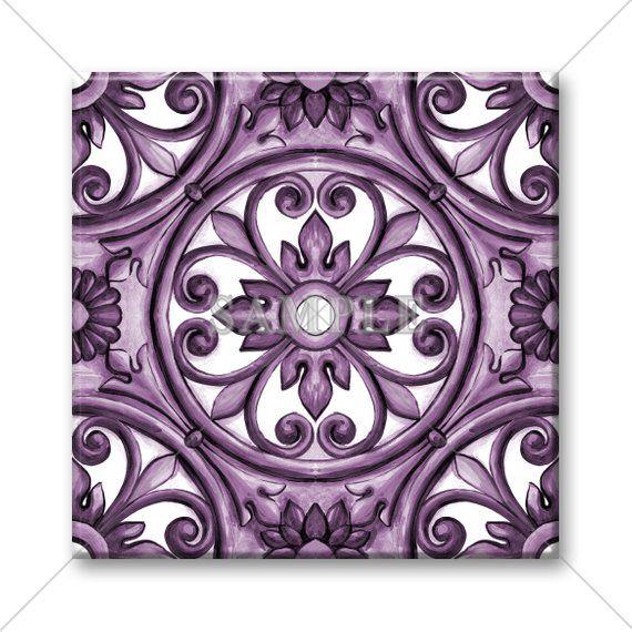 Ceramic Accent Tile Purple Decorative