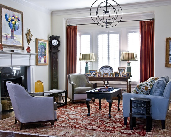 Lovely Living Room With Light To Medium Blue Hues In The Upholstery Artwork And Accessories