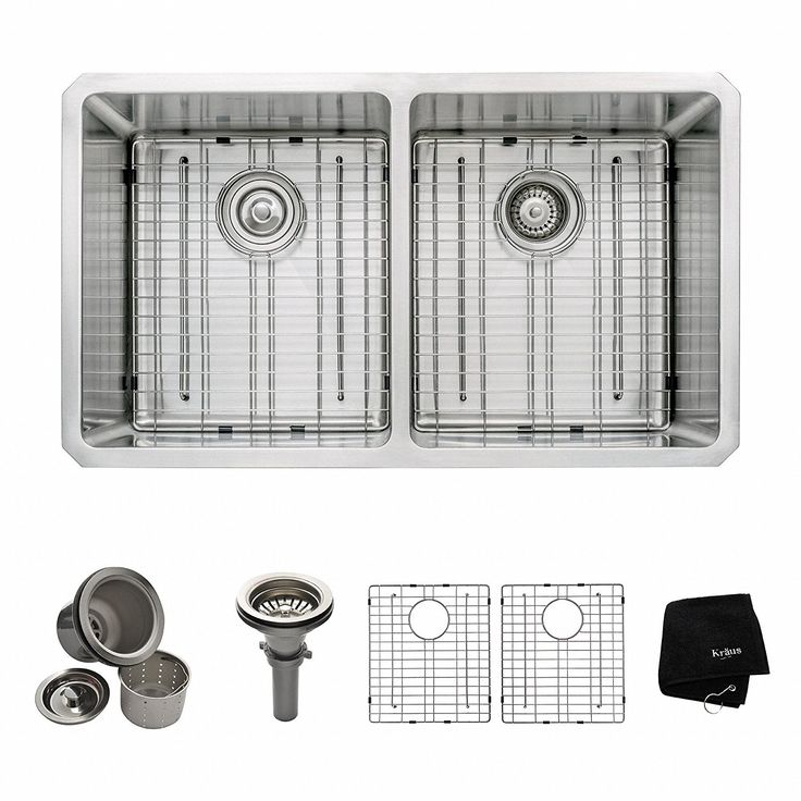 shop for the kraus stainless steel double basin 16 gauge stainless steel kitchen sink for undermount installations with split   basin racks and basket     25 best 50 best undermount kitchen sink images on pinterest      rh   pinterest com
