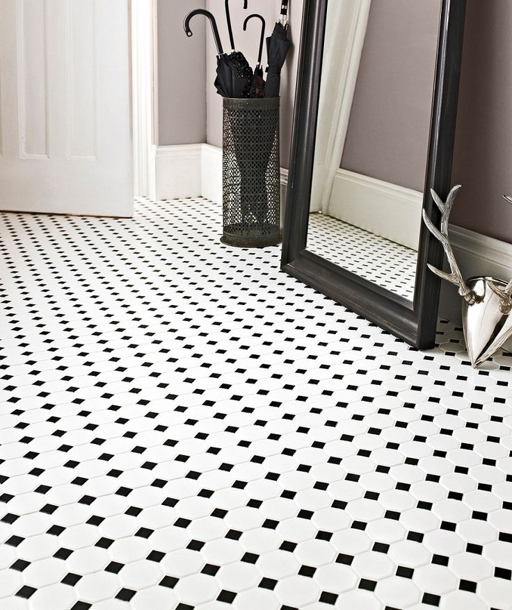 Shapes Octagon Matt White & Black Dot Mosaic Tile | Topps Tiles