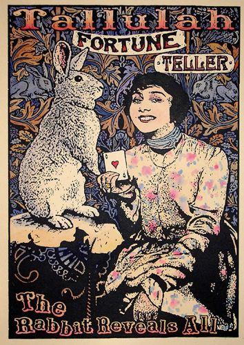Fortune Teller Tallulah, The Rabbit Reveals All -- linocut gillian golding