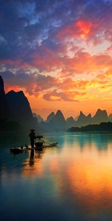 Sunset over Guilin, China