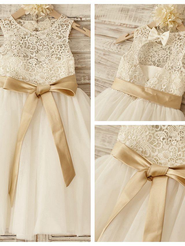 Vestido de Niña Florista - Corte Princesa Hasta la Rodilla - Encaje/Tul Sin Mangas - USD $59.99