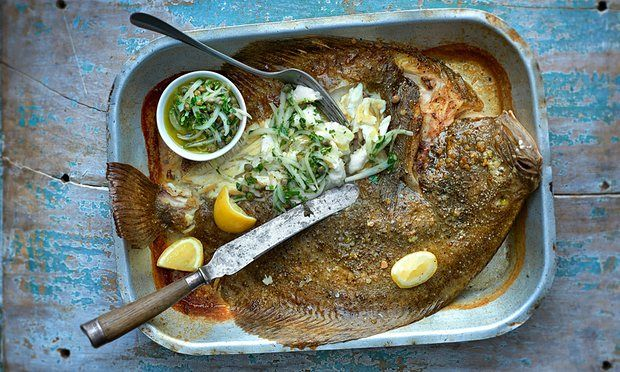whole baked turbot with onions, lemon and caper salsa