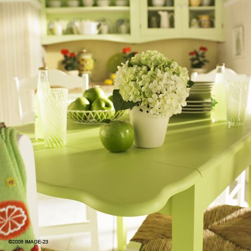 apple green kitchen accent color - Green Kitchen Table