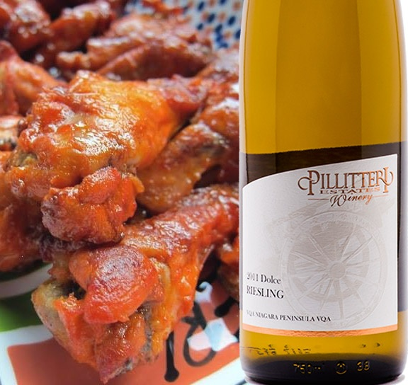 Riesling and Hot Buffalo Wings! Spice and sweet balances the HEAT :)