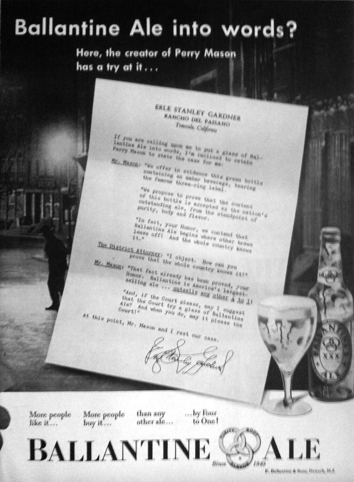 Ballantine Ale Ad featuring Erle Stanley Gardner, page 2, 1951.