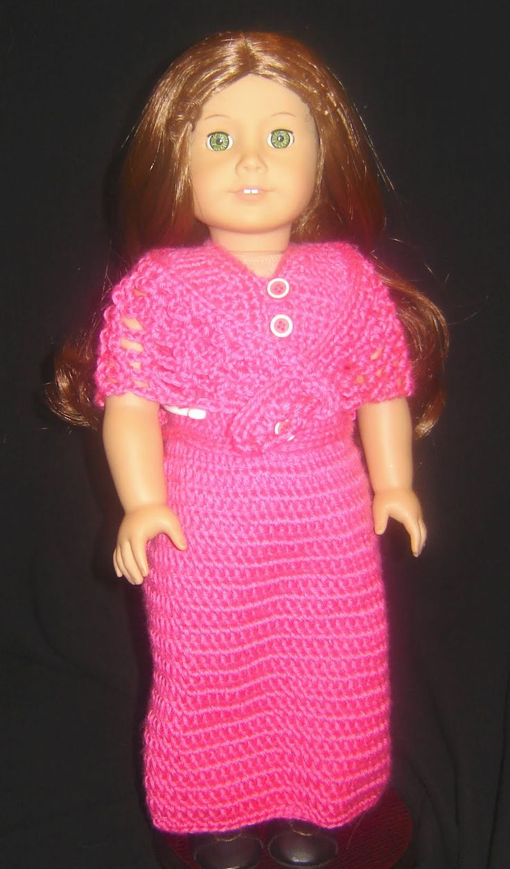 "Bizzy Crochet: Evening Dress w/ Shawl Pattern- 18"" Doll. Pinned from original source by Dorothy."