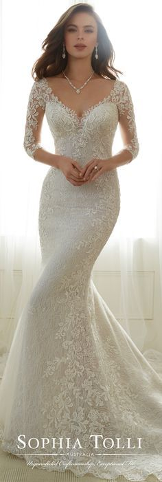 Sophia Tolli Spring 2017 Wedding Gown Collection - Style No. Y11702 Gabrielle - lace 3/4 length sleeve trumpet wedding dress with illusion back