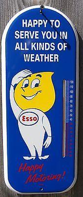 ESSO OIL DROP BOY PORCELAIN THERMOMETER SIGN - GAS & OIL - STATION - GARAGE