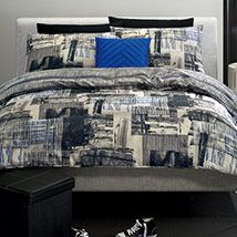 "A design with plenty of trend-setting ""edge"" and a modern, contemporary approach to bedroom decoration, Edge features blurred photographic images over-printed with blocks of irregular vertical lines. The monochromatic colour is accented with subtle touches of vibrant blue. Edge is the perfect choice for late teen / young adult bedrooms."