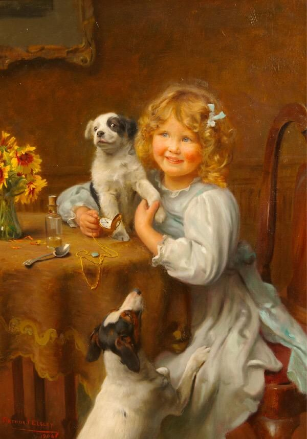 Playtime! ~ Arthur John Elsley ~ Petite Fille Avec Des Chiots