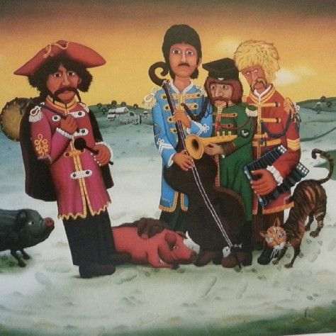 The Beatles in Hlebine, a naive art painting of Josip Generalić, 1973. Hlebine is a croatian small town known for its group of naive or primitive artists. One of their leaders was Ivan Generalić, the father of Josip. #naiveart #ArtNaif #Hlebine #croatia #croatianart #ivangeneralic #josipgeneralic #painting #artwork #Beatles #generalic   Ahmed Ben Cheikh