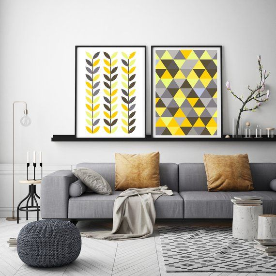 Geometric Wall Art Geometric Print Scandinavian Wall Art Scandi Print Nordic Wall Art Nordic Print Scandi Leaves Print Yellow And Grey Geometric Wall Art Scandinavian Wall Art Etsy Wall Art