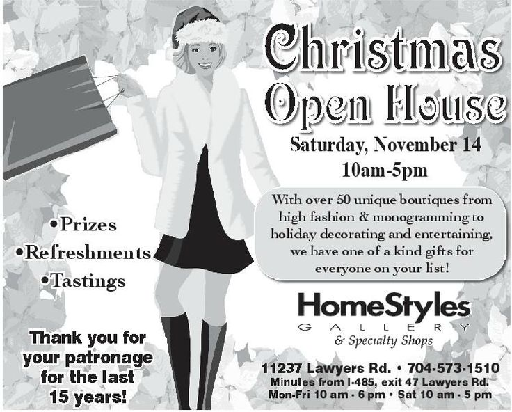 Don't miss our Christmas Open House this coming Saturday, November 14th! Join us for Refreshments, tastings, prizes and the most unique gifts and holiday decor in the Charlotte area! #minthill #minthillChristmas #minthillboutique #charlotteChristmas #CharlotteChristmasOpenHouse #homestylesgallery #charlotte #charlottenc