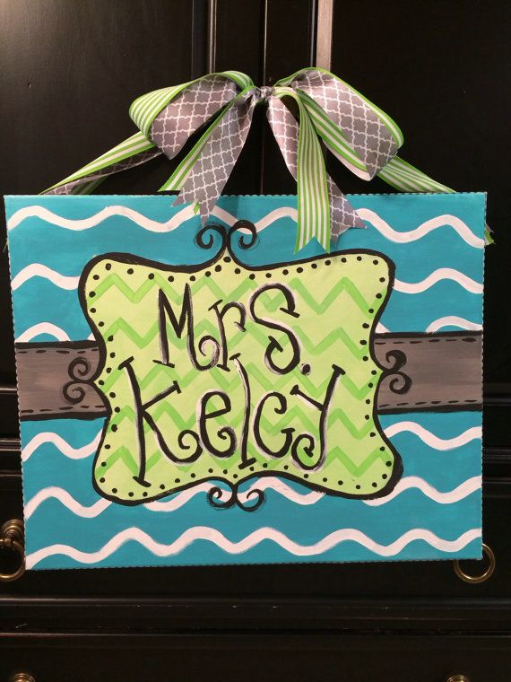 Turquoise/green teacher name sign by CraftsbyBrittni on Etsy, $25.00