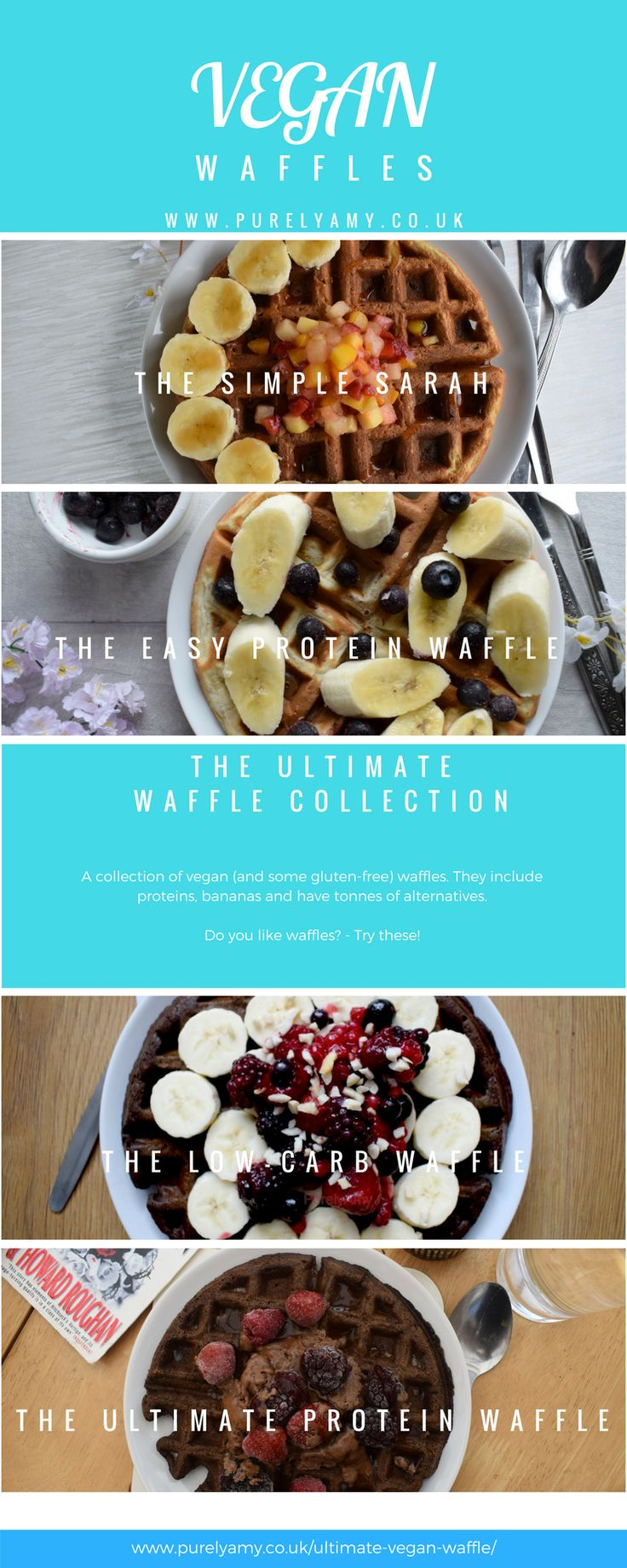 Waffles waffles and more waffles -   Try some for breakfast, fancy chocolate? Have them! They're less than 200 calories!   #veganwaffles #veganfood #dairyfree #glutenfree #easyfood