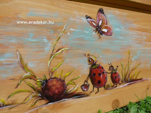 """""""Vidám mesék"""" mesemintával festett egyedi gyerekágy. Fotó azonosító: AGYSZAVANNA2"""