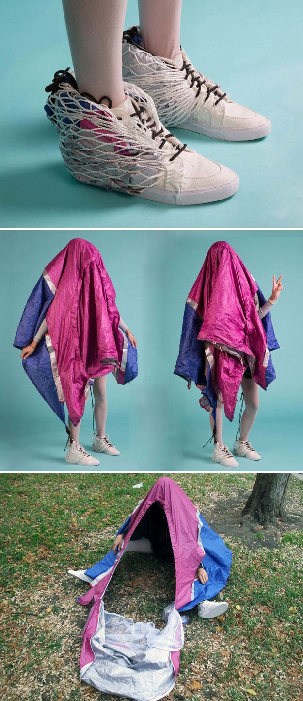 Shoes that easily transform into a mobile shelter.