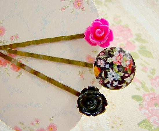 English Black Floral Chintz Garden Bobby Pin Set by by Alyssabeths, $11.00: Bobby Pin