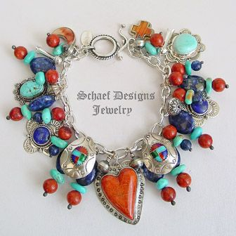 Schaef Designs apple coral, turquoise, lapis & sterling silver Southwestern Charm Bracelet   New Mexico