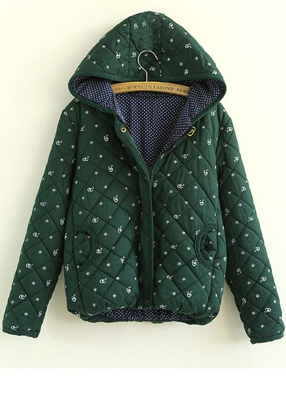Dark Green Floral Pockets Thick Cotton Padded Coat