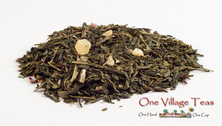 "Blue Mango Green Tea  The blue mango has been referred to as being ""astonishingly beautiful"". This tea has a smooth body with light sweet hints of citrus and the natural mango flavours are enhanced with an almost honey like finish.  www.onevillageteas.com"