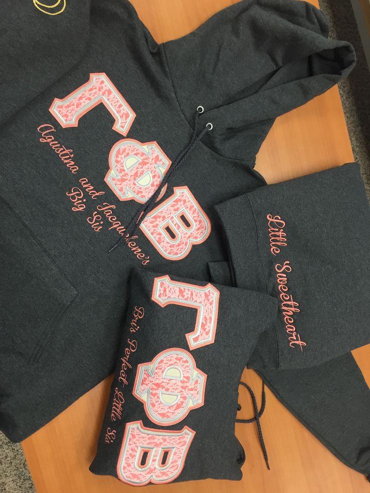pink gamma phi beta letters on grey hoodies lace greek letters custom embroidery sorority