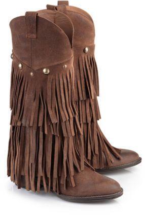Buffalo Damen Western-Stiefel mit Fransen Wildleder braun Neu 10607