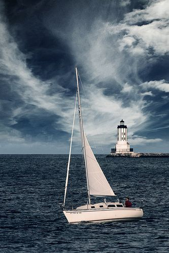Sailboat and Angel's Gate Lighthouse | Los Angeles Harbor, California