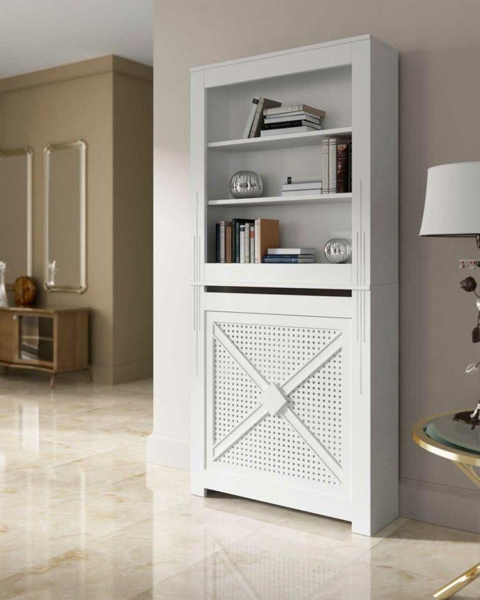heizkörperverkleidung wohnzimmer flurgestaltung einrichtungsideen weißes bücherregal