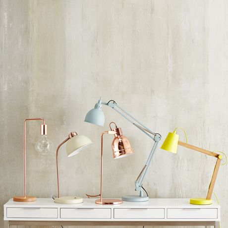 We love this mixture of metallic and pastel colored lamps.