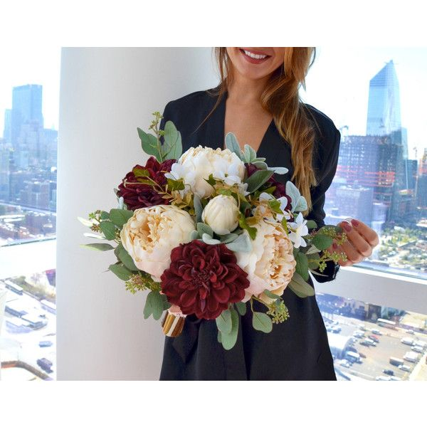 Wedding Bouquet, Burgundy Bridal Bouquet, Cream Wedding Bouquet, Fall... (530 BRL) ❤ liked on Polyvore featuring home, home decor, floral decor, artificial flowers, fall silk flowers, silk flower bouquets and fake flower bouquets