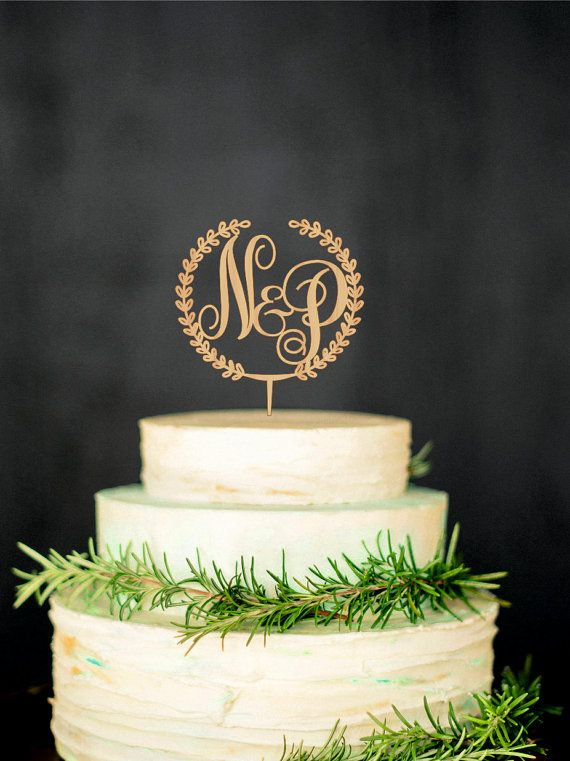 Cheap Initial Monogram Cake Toppers