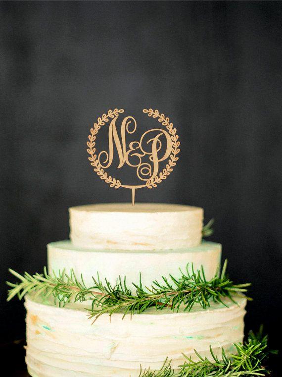 Wooden Monogram Cake Topper Custom Initial Cake Topper Wedding Monogram Cake Topper Gold Cake topper Silver Cake topper