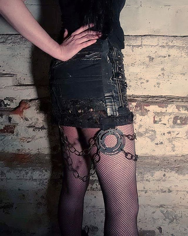 #scenesick same ole skirt new view #miniskirt #skirt #leather #chains #stitches #biker #punk #rivethead #apocalypticfashion #postapocalyptic #metal #goth #gothicfashion #gothfashion #streetfashion #bondage