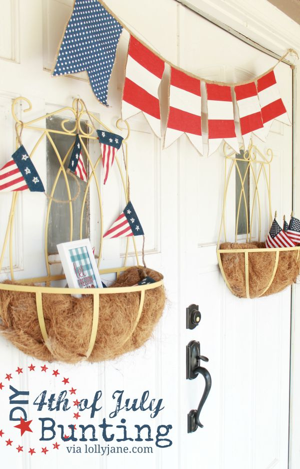 Eas 4th of July bunting, so cute and easy! #bunting #4thofJuly