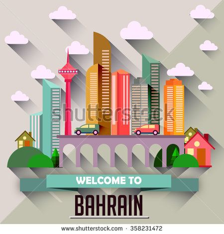 Bahrain - Flat design city vector illustration - stock vector