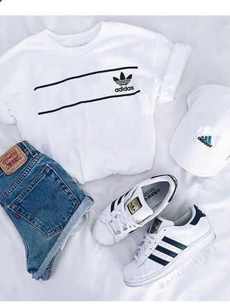 Are you ready for summer ? Summer white look : Adidas + denim #adidas #summer…