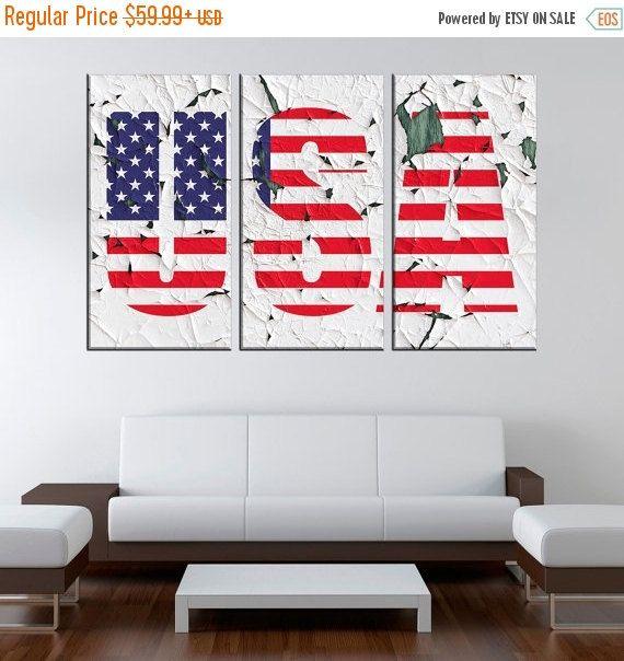 ON SALE US Flag Large Canvas Print, Usa Extra Large Canvas, Patriotic Bedroom Wall Art,1 or 3 Panel Canvas, Wall Art Prints, Canvas Print…
