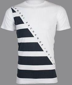 6f378b41e6c ARMANI EXCHANGE Mens T-Shirt DIAGONAL STRIPE Premium WHITE NAVY Designer   45 NWT  MensT-shirts