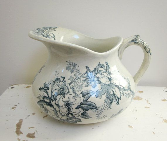 Antique french water pitcher Blue flowers Faience 1920