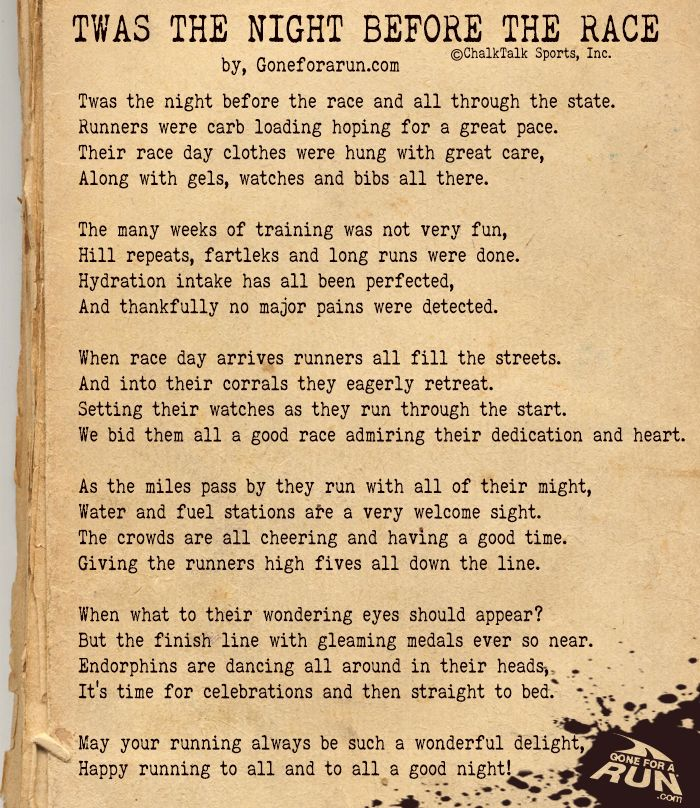 Twas The Night Before The Race. A poem to all runners. From, goneforarun.com