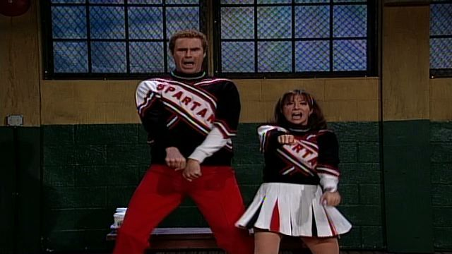 Craig (Will Ferrell) and Arianna (Cheri Oteri) break into their high school gym hours early to practice for the Spartan Cheerleader tryouts, because making the squad is their number one goal. [Season 23, 1997]