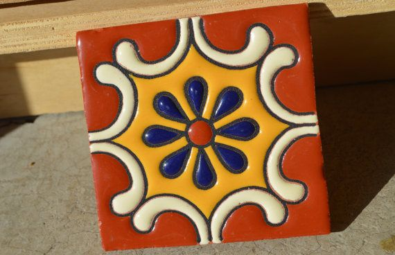 6   Mexican Talavera Tiles handmade Hand painted 4 by MexicanTiles