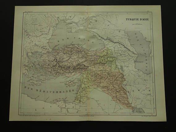 TURKEY old map of Asian Turkey 1858 original antique French