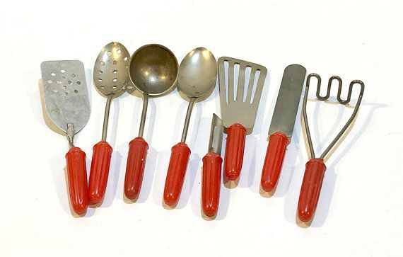 Toy Kitchen Implements Vintage 1950/'s group of 3