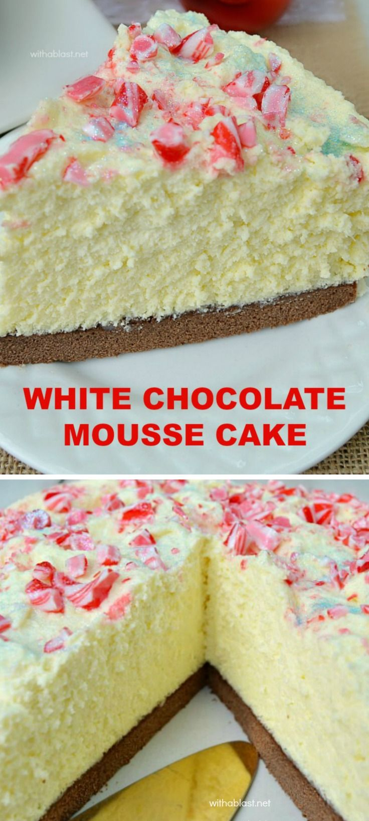 The BEST White Chocolate Mousse Cake EVER ! With a chewy Cake base, creamy Mousse and a taste which will blow you away ~ this is also a make-ahead recipe and yields 12 - 16 slices (use any topping to suit the occasion) Click image to find more popular food & drink Pinterest pins