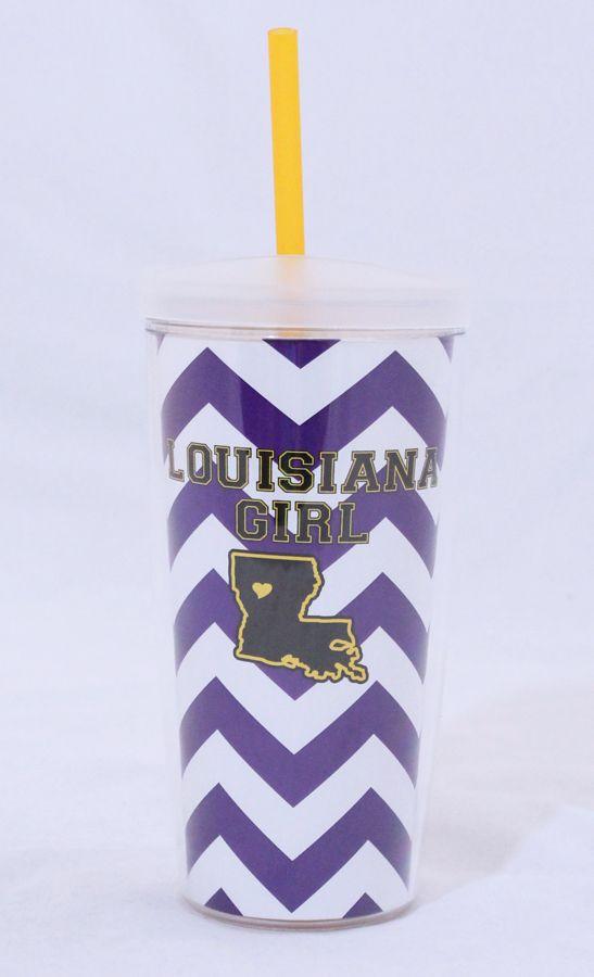 Louisiana Girl chevron LSU cup