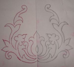fold and paper cut large shape templates for big back pieces in henna